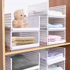Set of 4 Stackable Wardrobe Storage Box Organizer, Plastic White Wardrobe Closet