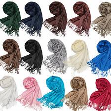 Schal Halstuch dünn leicht glänzend Stola Unifarben Damenschal neu Fransenschal