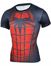 Spiderman 3D Print Compression Quick Dry Short Sleeve Workout Tee Adult Large