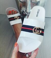 WOMENS GIRLS WHITE BLACK SILVER ROSE GOLD FLAT GG SLIDER SANDALS BEACH SHOE SIZE
