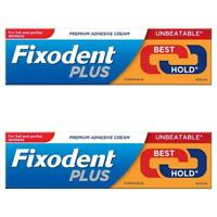 2 x Fixodent Plus Dual Power Best Hold 40g Denture Premium Adhesive Cream Strong