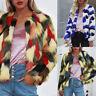 Womens Ladies Warm Faux Fur Coat Jacket Winter Gradient Color Parka Outerwear US