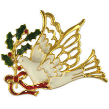 CRYSTAL CHRISTMAS DOVE MISTLETOE PIN BROOCH PENDANT MADE WITH SWAROVSKI ELEMENTS