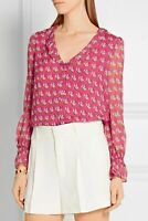 NWT DIANE VON FURSTENBERG  DVF 'KIRSTY' PINK FLORAL Silk Blouse Top Size 8 $278