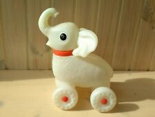 Elephant on Wheels 60s, Moving Head Rare Soviet Pull Toy, White Plastic Toy