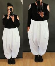 QUIRKY LINEN BAGGY PANTS TROUSERS Plus Size 18 20 22 Harem Lagenlook white uk