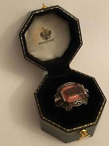 imperial Russian 84 Silver Ring with Stone in box