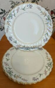 """New Set of 6 Noritake #4704 BROOKHOLLOW 10 1/2"""" DINNER PLATES Ivory Floral"""