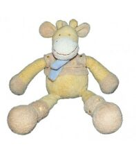 Nicotoy doudou peluche girafe jaune echarpe bleue 32 cm The Baby collection