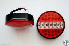 LED Round Rear Lights Tail Board Burger Lamp 2x12V Truck Trailer Bus Van Chassis