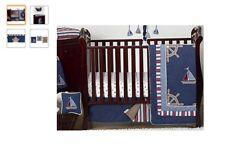 Sweet Jojo Design Nautical Nights Blue and White Sailboat Bedding Crib Set