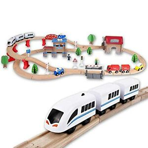 88 Pcs. Battery Operated Train Set – Wooden Toys for Kids and Toddlers –