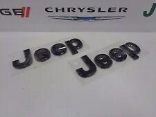 14-17 Jeep Wrangler New Front Grille Emblem Jeep Gloss Black Mopar Set of 2 Oem