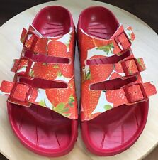 Birki Sandals by Birkenstock for Women Strap Sansibar Strawberry size 42 / US 10