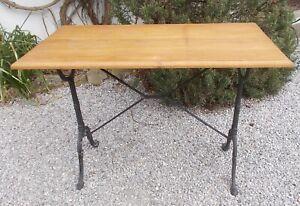 vintage bistro table, wooden top, garden, conservatory