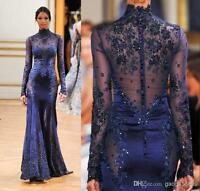 Royal Blue Long Sleeves Mermaid High Neck Formal Evening Dress Prom Party Gowns