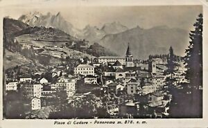 PIEVE di CADORE VENETO ITALY~PANORAMA 878m~1930s PHOTO POSTCARD TO IRONWOOD MI