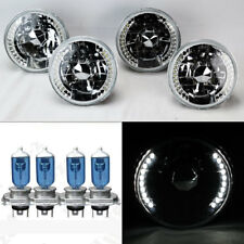 "FOUR 5.75"" 5 3/4 Round H4 Clear LED DRL Glass Headlights w/ Bulbs Set"