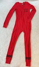 Victoria's Secret PINK Red One Piece Long John Pyjamas Size Small Sleepover