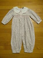 Friedknit Creations Smocked & Embroidered Floral Bubble Romper 18 months