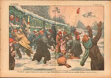 Train Tren pasajeros atascado la nieve Ligne Madrid-Albacete 1927 ILLUSTRATION