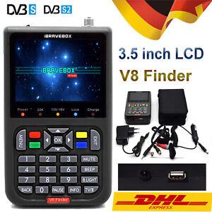 """V8 Finder Satellitenfinder Digital Satelliten Signal Meter 3.5"""" LCD Schwarz E6D4"""