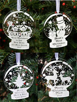 Personalised bauble snow globe shape first Christmas tree ornament decorations