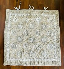 NWOT Ballard Designs Grey / Tan Quilted Lotus Block Print Euro Pillow Sham