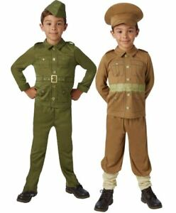 Kids WW1 WW2 Solider Boys Fancy Dress World War One Child Uniform Army Costume