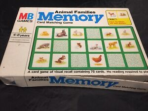 Vintage 1980 Milton Bradley Animal Families Memory Cardm Matching Game 69 Of 72