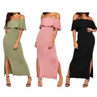 Ladies Womens Bardot Off Shoulder Side Slits Slinky Jersey Maxi Dress