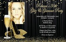 Personalised 21st 30th 40th 50th Adult Gold Glitter Birthday Invitations invites
