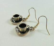Alice in Wonderland Earrings, Handmade, Tibetan Silver, Tea Cups & Saucers