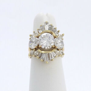 14k Gold Baguette Marquise Diamond Engagement Ring Enhancer Insert Wedding Band