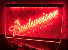 Budweiser LED Neon Bar Sign Home Light up movie Pub Bud Beer Lager drink signs