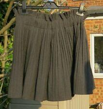 Pleated mini skirt. Fine brown check Elastic waistband lined Zara Size M