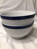 10 Strawberry Street Monno Bangladesh White With Blue Trim Pedestal Bowls