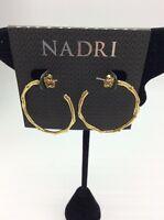 $50 Nadri Gold Tone pave Crystal Hoop Earrings #212