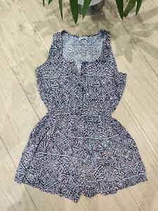 Brave Soul Blue, Pink & White Sleeveless Summer Playsuit, Size Small. Pockets