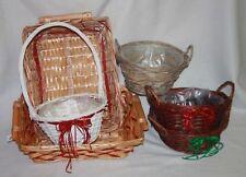 Wicker Christmas Round Decorative Baskets