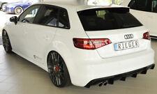 Rieger CUP Diffusor SCHWARZ für Audi A3 8V 8VA S3 S-Line Heck Ansatz für 2 x Li