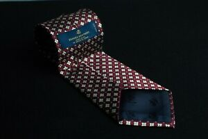 """Brooks Brothers Men's Red Tie in 100% Patterned  Silk Hand Sewn USA 59""""L x 3.9""""W"""