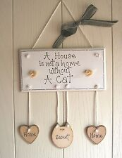 Wooden Plaque HEART  Wood cat Home is where the CAT is Home Sweet Home BEAUTIFUL