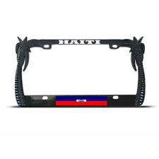 HAITI PALM TREE TROPICAL BLACK License Plate Frame HAITIAN FLAG PRIDE Auto Tag