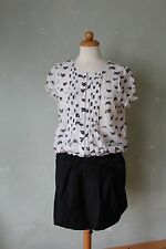 Killah Kleid Rock mit Bluse weiß weiss schwarz Katzen süß Manga Schleife M 38 *