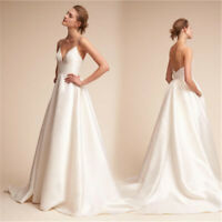 Ivory Wedding Dress Satin Backless V Neck Sleeveless Bride Ball Gown Custom
