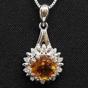 World Class 2.60ctw Golden Citrine & Diamond Cut White Sapphire 925 Pendant