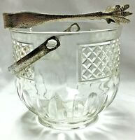 VINTAGE CLEAR GLASS ICE BOWL WITH METAL HANDLE AND MATCHING TONGS