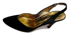 Yves Saint Laurent Women's Black Satin Slingdack Heels Shoes! Size 8.5