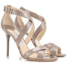 Jimmy Choo 'Lottie' Sand Beige Glitter Patent Heels Sandals Strappy EU 4 Uk 37